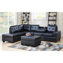 See Details - Albert Reversible Sectional with Drop Down Table and Storage Ottoman, Black PU