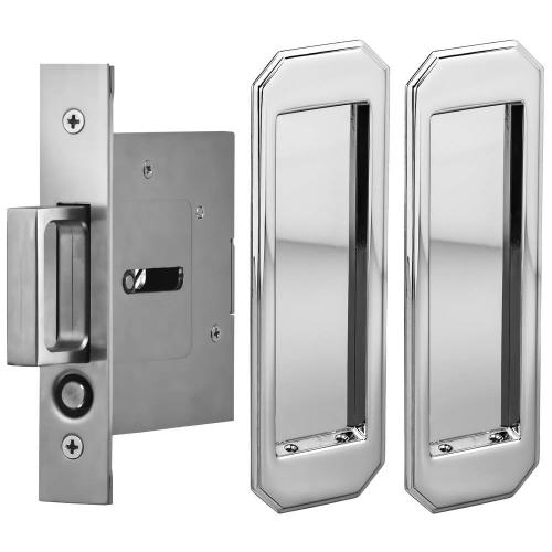 Passage Pocket Door Lock with Traditional Rectangular Trim featuring Mortise Edge Pull in (US26 Polished Chrome Plated)
