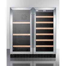 "30"" Wide Commercial Built-in Undercounter Dual Zone Wine and Craft Beer Cooler Designed for the Display and Refrigeration of Beverages, With Locks, Digital Thermostats, and Glass Doors In A French Door Swing"