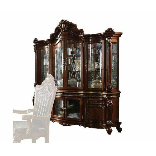 ACME Picardy Hutch & Buffet - 68227 - Traditional, Vintage - Wood (Rbw), Wood Veneer (Cherry), Poly-Resin (Fiberglass), Glass, Mirror - Cherry Oak