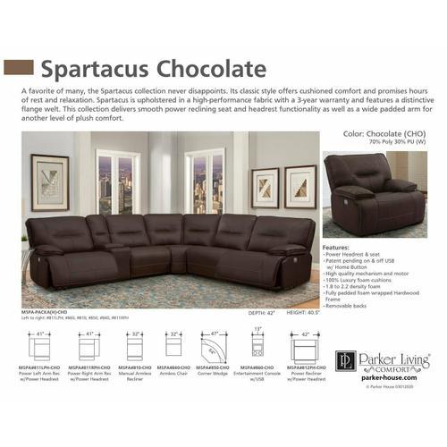 Parker House - SPARTACUS - CHOCOLATE Power Left Arm Facing Recliner