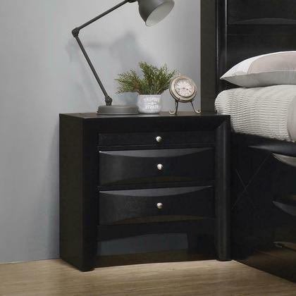 See Details - Briana Black Two-drawer Nightstand With Tray