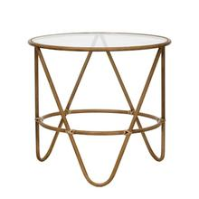 """Product Image - 19.5"""" Round x 18""""H Metal Bamboo-Style Table with Glass Top, Truck Ship"""