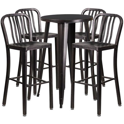 24'' Round Black-Antique Gold Metal Indoor-Outdoor Bar Table Set with 4 Vertical Slat Back Stools