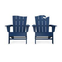 View Product - Wave 2-Piece Adirondack Set with The Wave Chair Left in Navy