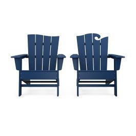 Polywood Furnishings - Wave 2-Piece Adirondack Set with The Wave Chair Left in Navy