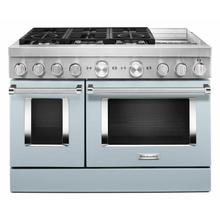 View Product - KitchenAid® 48'' Smart Commercial-Style Dual Fuel Range with Griddle - Misty Blue