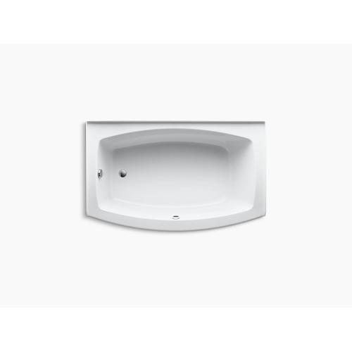 "Biscuit 60"" X 32-38"" Curved Alcove Bath With Bask Heated Surface and Left-hand Drain"