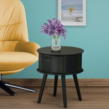 Round Night Stand End Table With Drawer in Black Finish