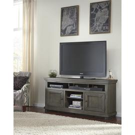 """See Details - 64\"""" Console - Distressed Dark Gray Finish"""