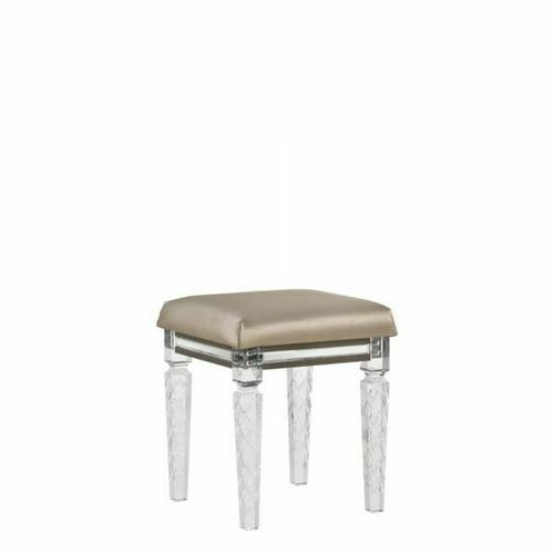 ACME Skylar Vanity Stool - 25330 - Glam, Contemporary - PU, Wood (Rbw), MDF, PB - PU and Dark Champagne