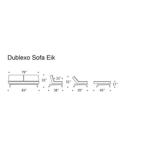 "DUBLEXO SOFA, 45""X83""/SP EIK SOFA METAL BARS/EIK LEGS, LACQUERED OAK"