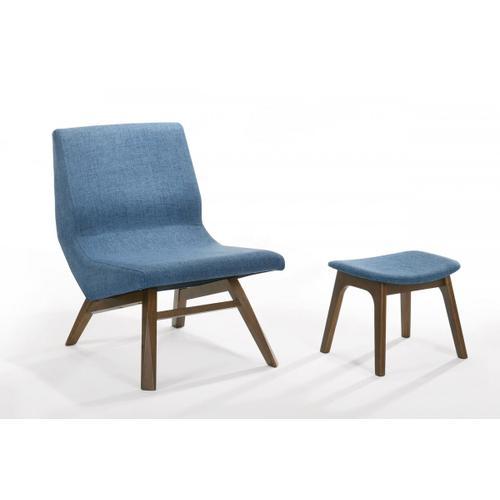 VIG Furniture - Modrest Whitney - Modern Blue & Walnut Accent Chair & Ottoman