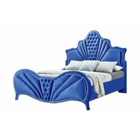 ACME Dante Eastern King Bed - 24217EK - Glam - Velvet, Inner Frame: MDF, PB, Chipboard - Blue Velvet