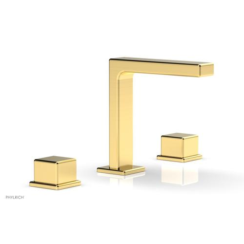 """MIX Widespread Faucet - Cube Handles 6-3/4"""" Height 290-04 - Satin Gold"""