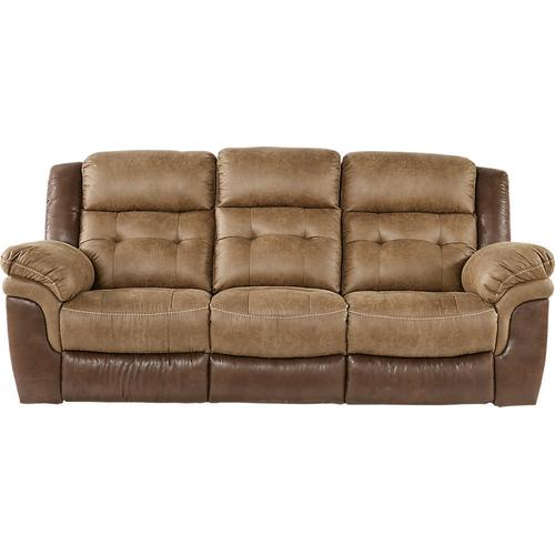 Sheffield Two-Tone Brown Leather Gel Dual Reclining Sofa