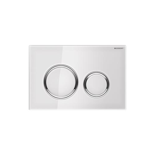 Sigma21 Dual-flush plates for Sigma series in-wall toilet systems White Glass with polished chrome accent Finish