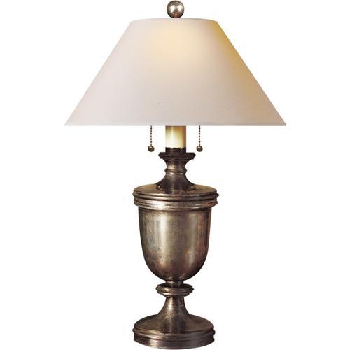 Visual Comfort - E. F. Chapman Classical 24 inch 40.00 watt Sheffield Nickel Decorative Table Lamp Portable Light in Natural Paper