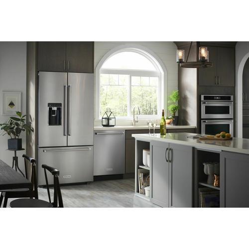 """KitchenAid - 23.8 cu. ft. 36"""" Counter-Depth French Door Platinum Interior Refrigerator - Stainless Steel"""