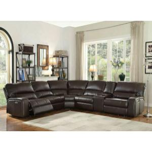 ACME Saul Sectional Sofa (Power Motion/USB Dock) - 54155 - Espresso Leather-Aire