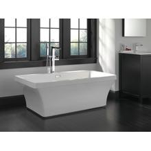 White 60'' x 32'' Freestanding Tub with Integrated Waste and Overflow
