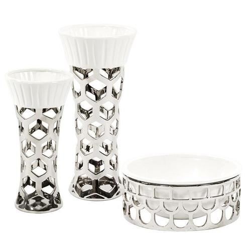 Howard Elliott - Silver Vase with Hexagon Cut Outs and White Ceramic Top, Large