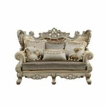 ACME Ranita Loveseat w/6 Pillows - 51041 - Fabric & Champagne
