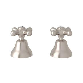 Verona Deck Mount Set of Hot and Cold 1/2 Inch Sidevalves - Satin Nickel with Cross Handle