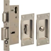 Pocket Door Lock with Modern Rectangular Trim featuring Turnpiece and Emergency Release in (US32D Satin Stainless Steel)