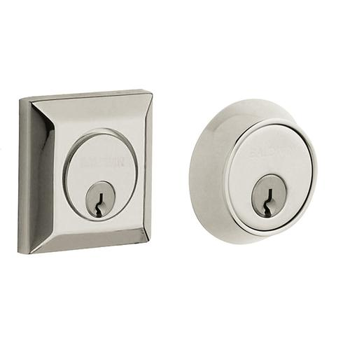 Polished Nickel with Lifetime Finish Squared Deadbolt