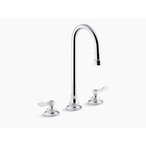 Polished Chrome 0.5 Gpm Widespread Bathroom Sink Faucet With Aerated Flow, Gooseneck Spout and Lever Handles, Drain Not Included