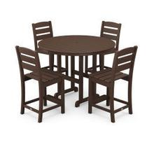View Product - Lakeside 5-Piece Round Counter Side Chair Set in Mahogany
