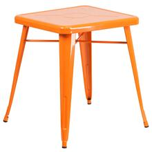 23.75'' Square Orange Metal Indoor-Outdoor Table