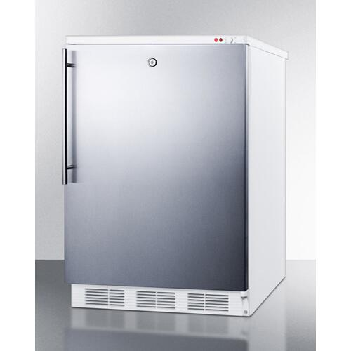 Commercial Freestanding Counter Height All-freezer Capable of -25 C Operation, With Lock, Wrapped Stainless Steel Door and Thin Handle