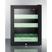 Beautifridge Compact Cosmetics Refrigerator With Glass Door, Black Cabinet, Lock, Glossy Mint-colored Shelves, and Digital Controls Set for the Storage of Beauty Products
