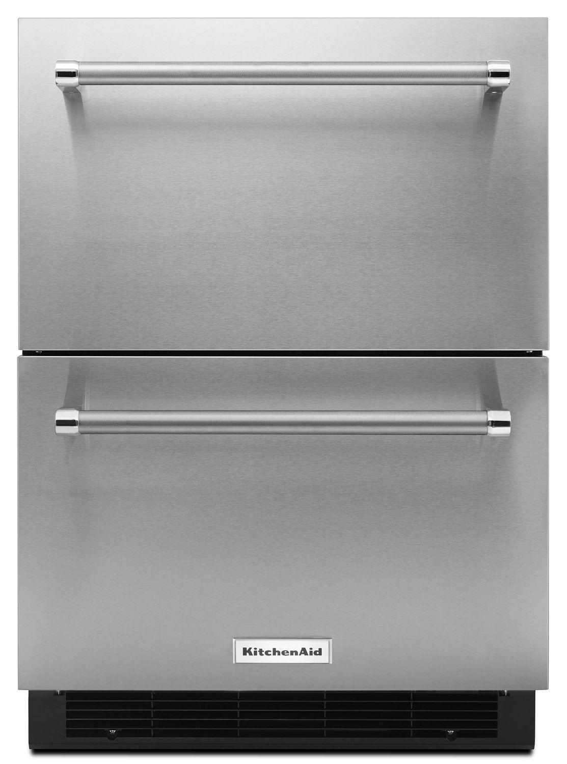 """Kitchenaid24"""" Stainless Steel Double Refrigerator Drawer Stainless Steel"""