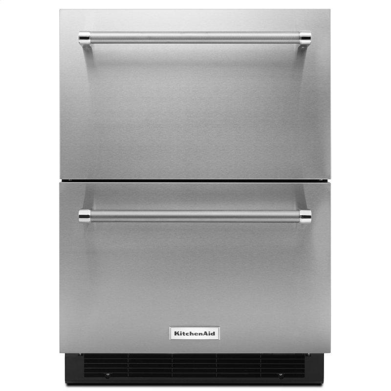 """24"""" Stainless Steel Double Refrigerator Drawer Stainless Steel"""