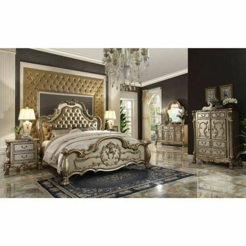 ACME Dresden Queen Bed - 23160Q - Bone PU & Gold Patina