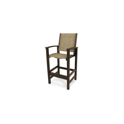 Polywood Furnishings - Coastal Bar Chair in Mahogany / Burlap Sling