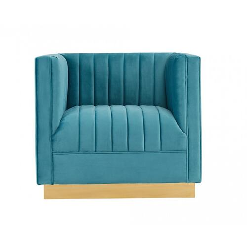 VIG Furniture - Divani Casa Oneida Modern Blue Velvet Lounge Chair