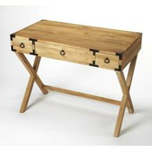 See Details - This timeless Campaign writing desk is an inspired addition in both traditional and contemporary spaces. Crafted from mango wood solids and wood products, it features an inviting natural mango wood finish accentuated with dark bronze pull rings on each of three drawers and dark bronze corner brackets.