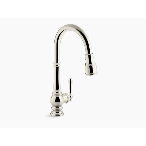 """Vibrant Polished Nickel Single-hole Kitchen Sink Faucet With 17-5/8"""" Pull-down Spout and Turned Lever Handle, Docknetik Magnetic Docking System, and 3-function Sprayhead Featuring Sweep and Berrysoft Spray"""