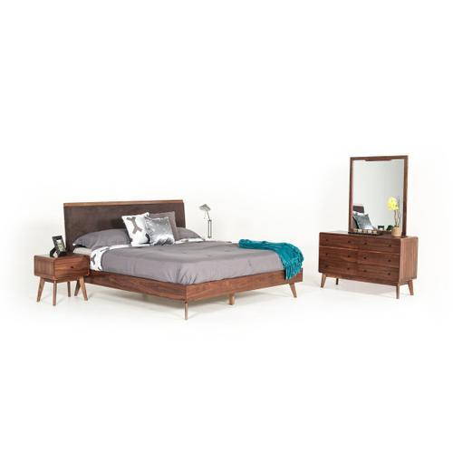 Modrest Marshall Mid-Century Modern Brown Fabric & Walnut Bedroom Set