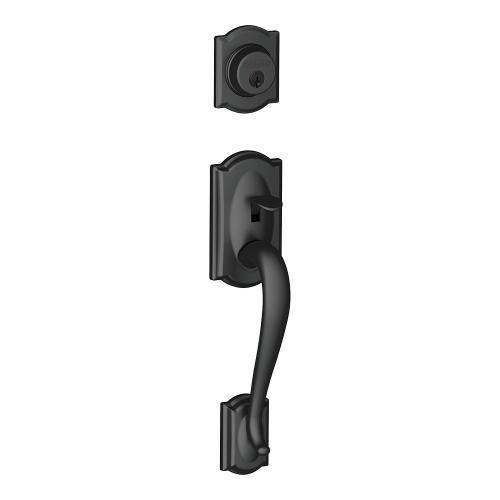 Camelot In-active Handleset and Siena Knob - Matte Black