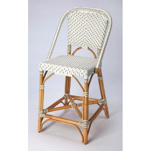 Function, form and fun all come together on this beautiful PU Rattan weave counter chair. The simplistic design of this counter chair is enhanced by a 'POP of contemporary design. The functional design of the counter chair with its intricate patterned weave and patterned chair arms offer all attentions to details. Reminiscent of the outdoor cafes on the streets of Paris, while sipping an aperitif.The fresh new look of this counter chair will bring new life to your kitchen dining or pub dining.