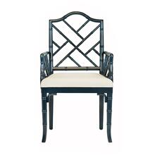 With Its Chinese Chippendale Styling, the Bristol Arm Dining Chair Is A Timeless Classic In Any Environment. Bristol's Turned, Bamboo Profile and Navy Lacquer Finish Evoke A Sophisticated Look and Feel, While Its Crisp Linen Upholstered Seat Offers A Cozy Perch. A Captivating Dining Chair for Both Casual and Formal Settings.