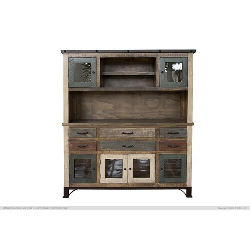 Buffet & Hutch w/6 Drawers, 6 Doors