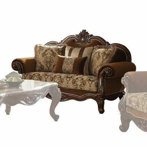 ACME Jardena Loveseat w/4 Pillows - 50656 - Fabric & Cherry Oak