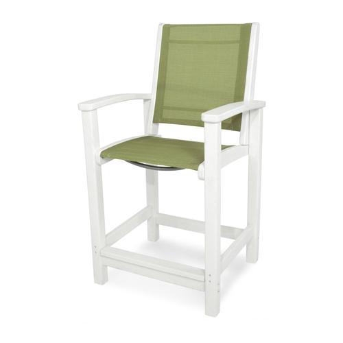 White & Kiwi Coastal Counter Chair