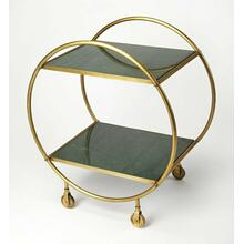 See Details - Build a home bar that's just as stylish as it is ideal for entertaining with this eye-catching cart. Founded atop four castered feet for easy mobility between the den and dining room, this piece features a circular frame crafted from iron with a striking antique gold finish. Its two rectangular tiers offer marble shelves, lending elegance to your display of filled decanters and food trays, so you can both serve and display.